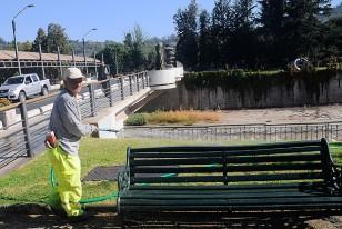 Un funcionario municipal riega, esa mañana de lunes, los jardines del Mapocho.