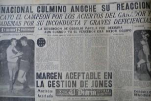 """Página Deportiva de """"El Diario"""" dando cuenta de la victoria de Nacional sobre Peñarol 2:1 en el clásico del 3 de enero de 1954. Peñarol terminó con 3 jugadores menos. Ya era Campeón Uruguayo de 1953."""