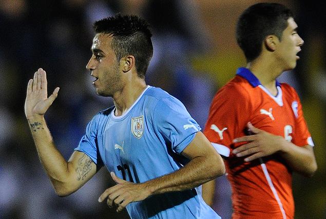 Franco Acosta en el festejo del tercer gol uruguayo.