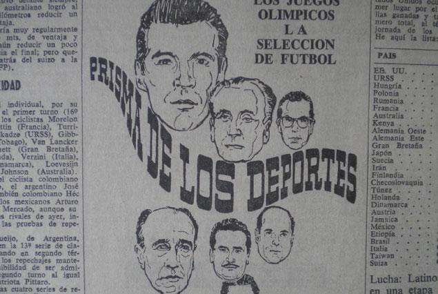 """Esta imagen muestra un trozo del aviso vertical del programa """"Prisma de los Deportes"""" que aparecía en la prensa con promoción del mismo. Pertenece a octubre de 1968. Aquellos avisos eran dibujados y allí se ve en primer plano la cara de """"Lalo"""" Fernández, luego del Dr. César L. Gallardo y en tercer lugar la de Julio Sánchez Padilla. Entre ellos el nombre del programa un tanto estilizado. De aquí nació """"Estadio Uno""""."""