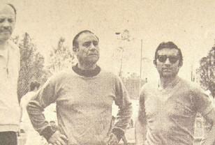 """El siempre recordado Hugo Bagnulo, aquí acompañado por el Prof. José Guillermo Palese con quien hizo dupla, y junto a ellos Alberto Silvio Montaño, gran periodista de """"El País""""."""