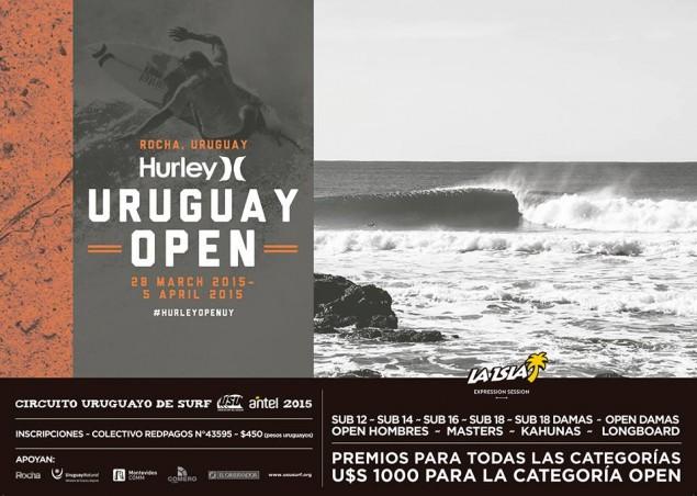 Afiche oficial de un evento que se instala como un clásico en el surf uruguayo.