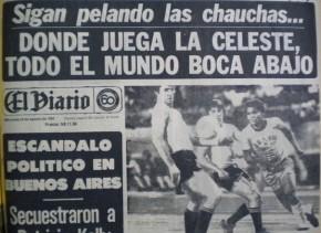 """""""El Diario"""" cuya Dirección de Deportes ejercía el autor de esta nota, fue el único que se jugó y creyó en la selección. Al día siguiente de la conquista, fue el único  medio que tituló a toda página incluyendo la radiofoto donde se ve a Alvaro Pérez ante un jugador Brasil, en cuyo equipo jugaba Dunga."""