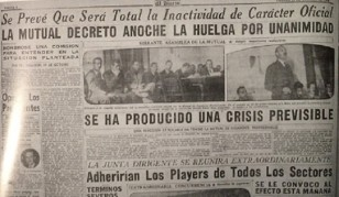 """Página deportiva de """"El Diario"""" anunciando la huelga decretada por la MUTUAL. En la fotografía hace uso de la palabra en la Asamblea, el abogado de la entidad, el joven Dr. Joaquín Reyes Rius. La huelga impedió que Ghiggia debutara en Peñarol en 1948 en el primer equipo."""